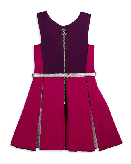 Sleeveless Belted Colorblock Pleated Dress, Berry, Size 7-14