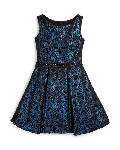 Sleeveless Damask A-Line Dress, Blue, Size 7-14