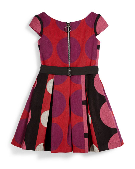 Pleated Polka-Dot Dress, Multicolor, Size 7-14