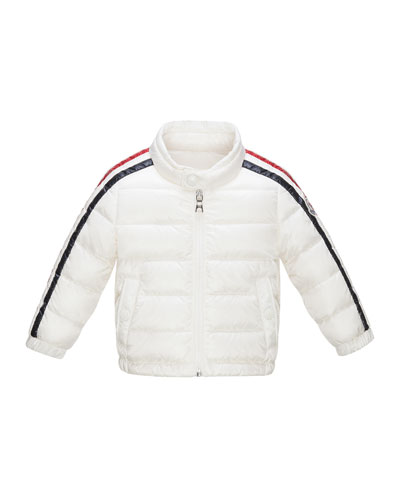 Zabelle Long Striped-Sleeve Puffer Jacket, White, Size 12 Months-3