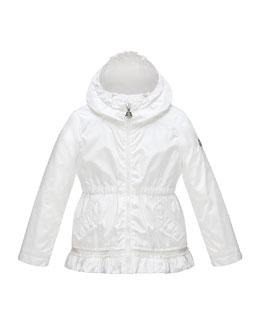 Noemie Hooded Raincoat, White, Size 2-6