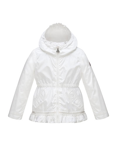 Noemie Hooded Raincoat, White, Size 2-6