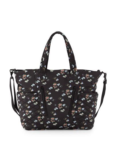 Yoko Orchid-Print Baby Bag, Black