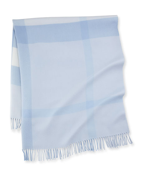 Mega-Check Merino Wool Baby Blanket, Ice Blue