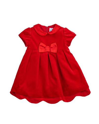 Pleated Cap-Sleeve A-Line Dress, Red, Size 3-24 Months