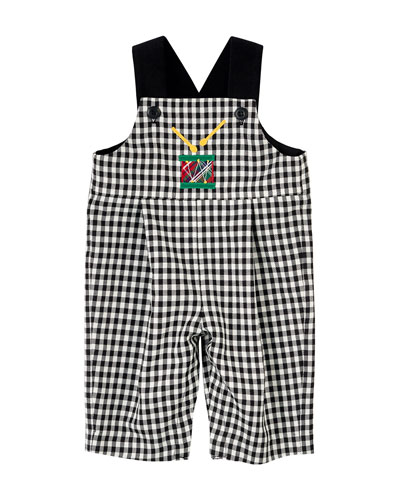 Gingham Drum Overalls & Tipped Polo Shirt, Black/White, Size 3-24 Months