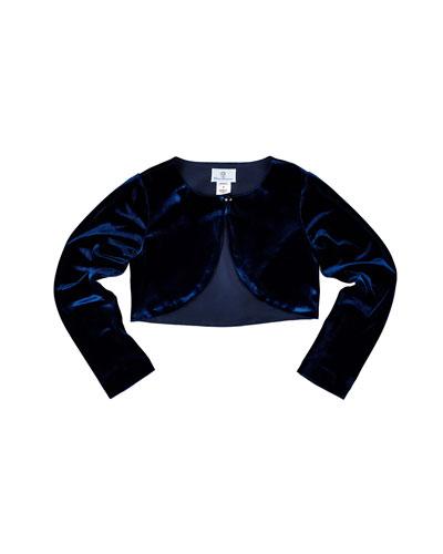 Velvet Bolero, Navy, Size 2-6