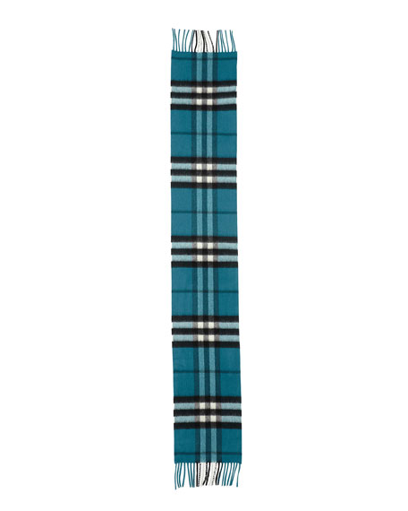 Burberry Kids' Exploded Check Cashmere Scarf, Dark Aqua