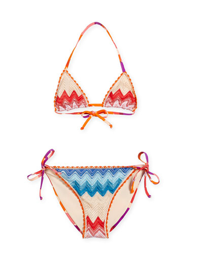 Girls' Zigzag Halter Two-Piece Swimsuit, Pink, Size 6-10