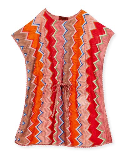 Zigzag Drawstring Caftan, Multicolor, Size 6-10