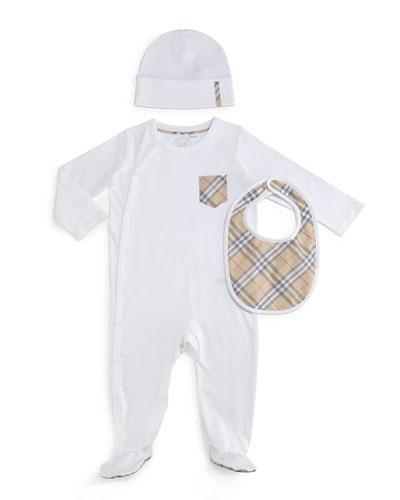 Jaydin 3-Piece Footie Pajama Set, White, Size 1-24 Months