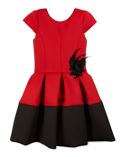 Pleated Cap-Sleeve Scuba Dress, Red/Black, Size 7-14