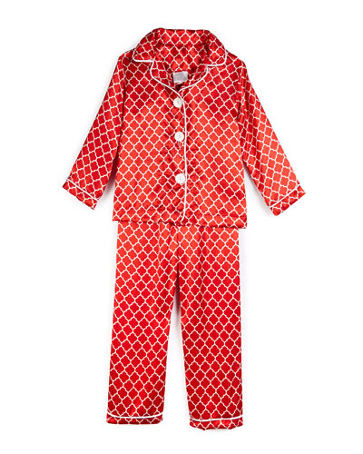Satin Quatrefoil Pajama Set, Red, Size 2-10
