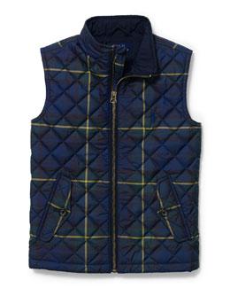 Quilted Matte Zip-Front Vest, Size 2T-7