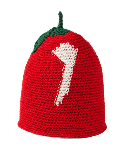 Girls' Cotton Cherry Beanie Hat, Red/Green