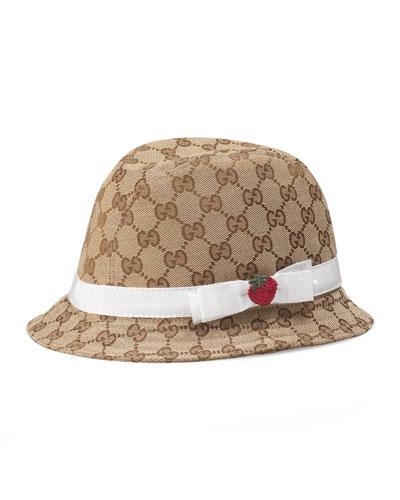 Girls' GG Canvas Fedora Hat w/ Strawberry, Beige