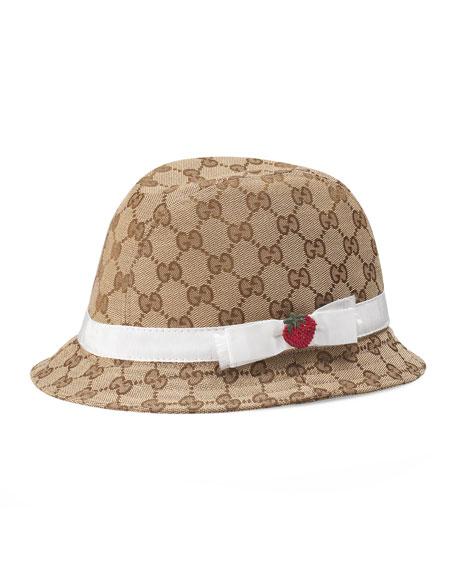 3d6ef9608 Girls' GG Canvas Fedora Hat w/ Strawberry Beige