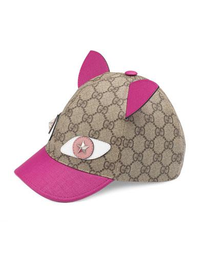 GG Supreme Cat Baseball Cap, Beige