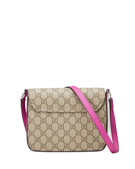 3a5e350bb98d Gucci Girls' GG Supreme Leather-Trim Cat Messenger Bag, Beige/Rosette