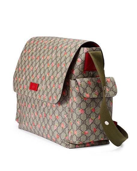 44d477056302 Gucci Strawberry-Print GG Canvas Diaper Bag