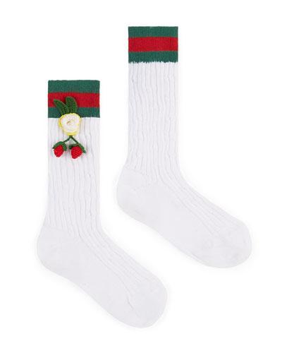 Girls' Crochet-Strawberry Cotton Knee Socks, White/Green