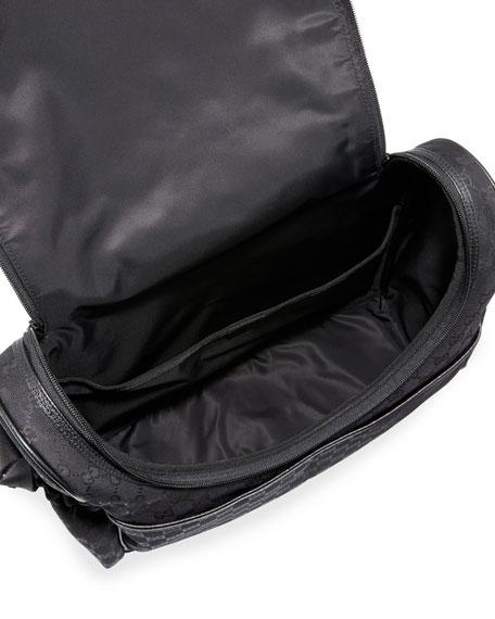 GG Canvas Leather-Trim Diaper Bag