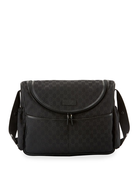 c9b661e64301ab Gucci GG Canvas Leather-Trim Diaper Bag