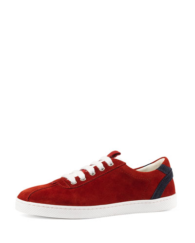 Leather Lace-Up Sneaker, Red, Youth