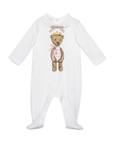 Cotton Teddy Bear Footie Pajamas, White, Size 0-12 Months