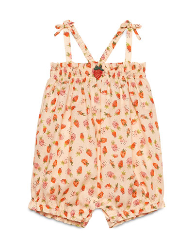 Sleeveless Cotton Strawberry-Print Romper, Pale Pink, Size 3-18 Months
