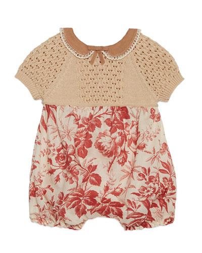 Muslin & Floral Silk Shortall, Beige, Size 3-12 Months