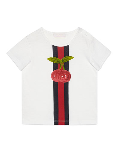 Short-Sleeve Web & Cherry Tee, White, Size 9-36 Months