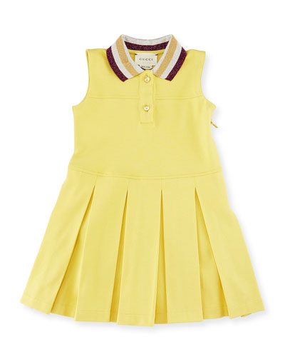Sleeveless Metallic-Trim Pleated Pique Dress, Limon, Size 12-36 Months