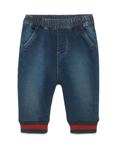 Jersey Denim Track Pants, Blue, Size 9-36 Months