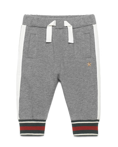 Web-Trim Cotton-Blend Track Pants, Gray, Size 6-36 Months