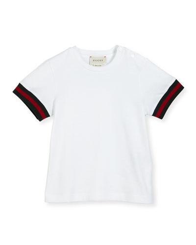 Short-Sleeve Web-Trim Jersey Tee, White, Size 12-36 Months
