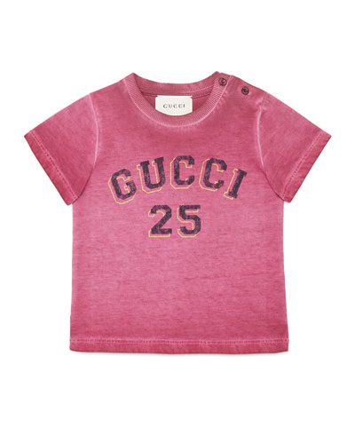 Short-Sleeve Cotton Logo Tee, Red/Gold, Size 12-36 Months