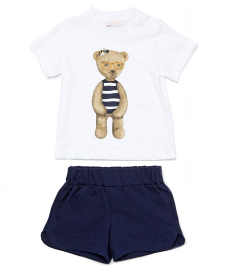9dabbc36 Gucci Teddy Bear Tee w/ Shorts, White/Blue, Size 12-36 Months