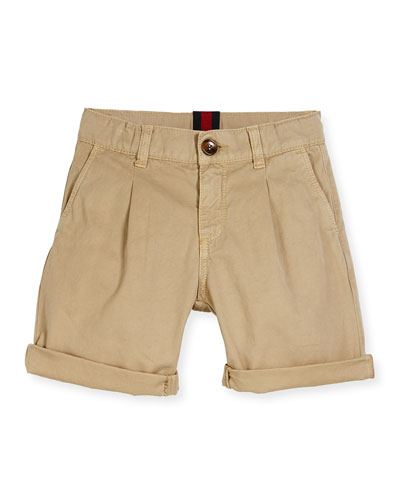 Pleated Cotton Bermuda Shorts, Oatmeal, Size 4-12