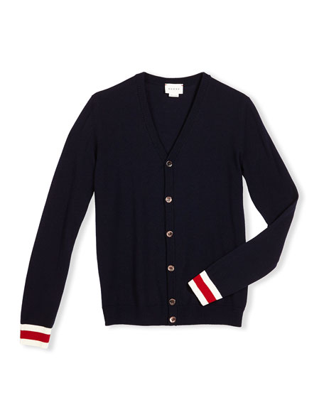 Gucci Wool Web-Trim Button-Front Cardigan, Navy, Size 4-12