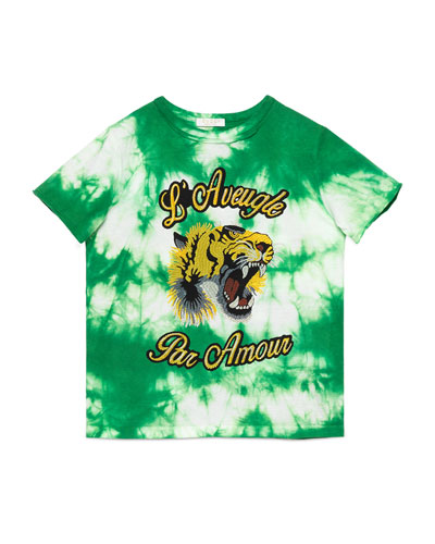Short-Sleeve Tie-Dye Cotton Tiger Tee, Green, Size 4-12