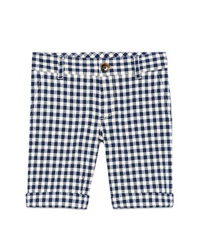 Gingham Cotton Seersucker Shorts, White/Blue, Size 6-12