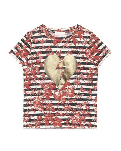 Short-Sleeve Broken Heart Striped Tee, Cherry Red/Blue/White, Size 4-12