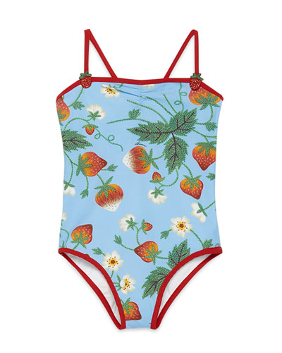 Strawberry-Print One-Piece Swimsuit, Royal/Red, Size 4-10