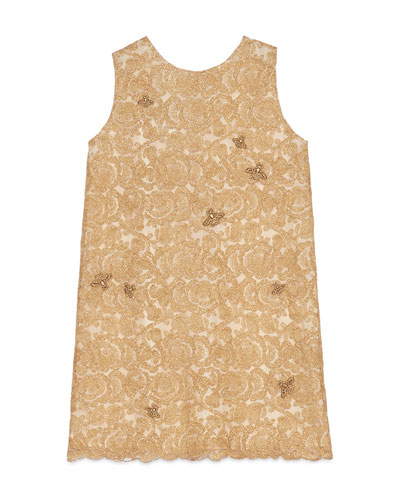 Sleeveless Metallic Floral Lace Dress, Gold, Size 6-12
