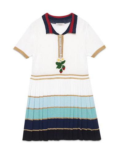 Short-Sleeve Striped Pleated Dress, White/Multicolor, Size 6-12