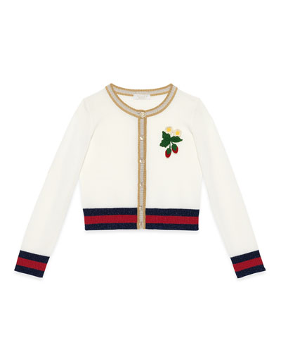 Crochet-Strawberry Web-Trim Cardigan, White/Gold, Size 6-12