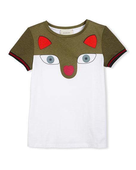 Short-Sleeve Colorblock Fox Tee, White, Size 6-12