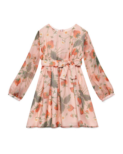 Strawberry-Print Silk Chiffon Dress, Pink, Size 8-12