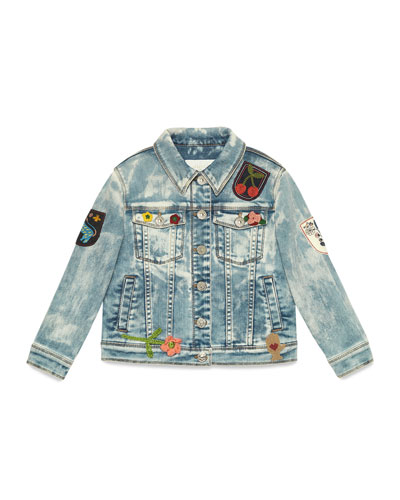 Bleached Denim Jacket w/ Patches, Blue/Multicolor, Size 10-12